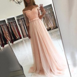 Pale Pink A Line Off The Shoulder Tulle Prom Dress With Sheer Sleeves