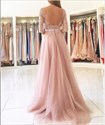 Bateau Strapless Lace Appliques Open Back Prom Dress With Split