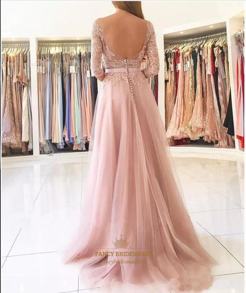 Bateau Strapless Lace Appliques Open Back Prom Dress With Split