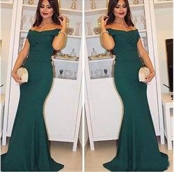 Simple Dark Green Pleated Cap Sleeve Mermaid Long Prom Dress