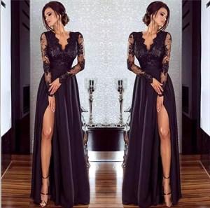 Black V Neck Sheer Long Sleeve Split Front Satin Prom Dress