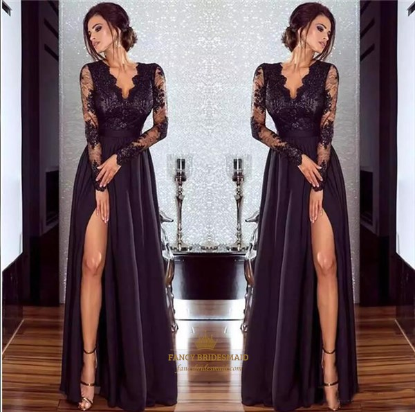 Black V Neck Sheer Long Sleeve Split Front Satin Prom Dress