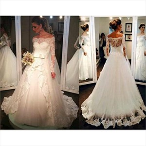 Illusion Off The Shoulder Lace Applique Tulle Ball Gown Wedding Dress