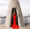 Red Sleeveless Sweetheart Lace Mermaid Prom Dress With Long Trains