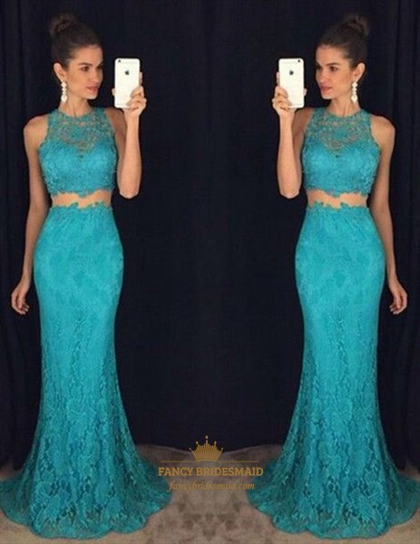 High Neck Lace Overlay Mermaid Floor Length Two Piece Prom Dress
