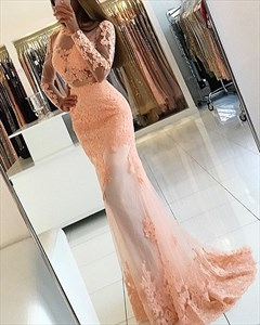 Peach Long Sleeve Open Back Applique Floor Length Tulle Prom Dresses