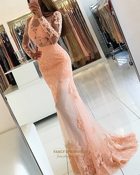 Peach Long Sleeve Open Back Applique Floor Length Tulle Prom Dresses