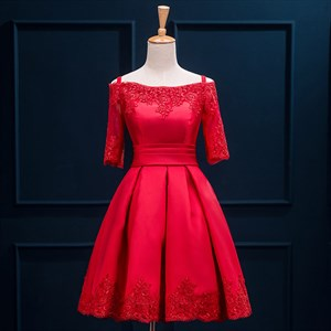 Red Half Sleeve Off The Shoulder Satin Short Prom Dress With Lace Up