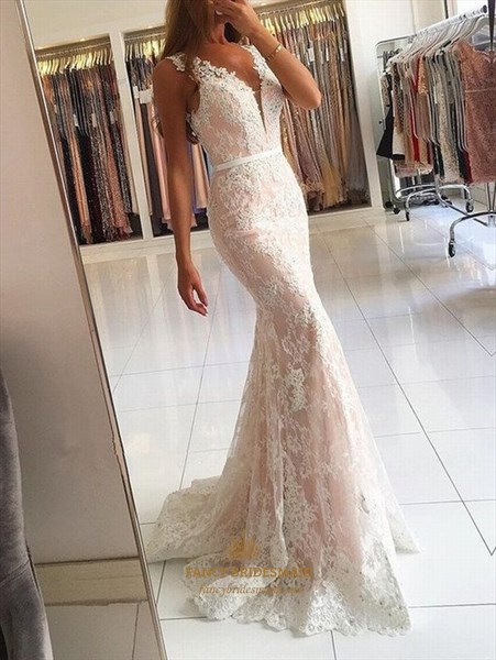 Ivory Sleeveless V Neck Lace Overlay Floor Length Mermaid Prom Dress