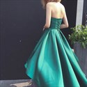 Emerald Green Sweetheart Ruched Waist Hi-Lo Prom Dress With Ruffles