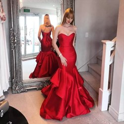 Red Strapless Ruffles Satin Mermaid Prom Dress With Lace Up Back