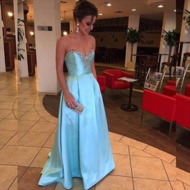Light Blue A Line Sleeveless Beading Floor Length Prom Dresses