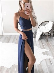 Navy Blue Spaghetti Strap Two Piece Prom Dress With Split Front