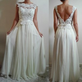 Bateau Beaded Cap Sleeves Backless Chiffon Skirt Wedding Dresses