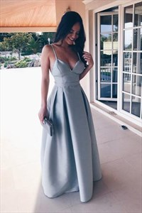 A Line Spaghetti Strap Open Back Ruched Waist Satin Prom Dress