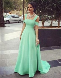 Elegant Mint Green Square Neckline Cap Sleeve Prom Dresses With Train