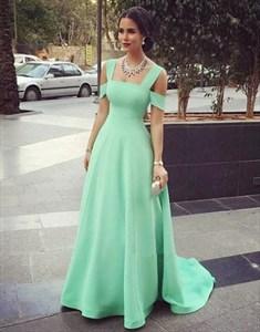 Elegant Mint Green Square Neckline Cap Sleeve Prom Dresses With Train