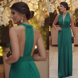 Emerald Green Sleeveless Halter Backless Floor Length Prom Dresses