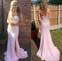 Pink Sweetheart Beaded Bodice Mermaid Prom Dresses With Slits