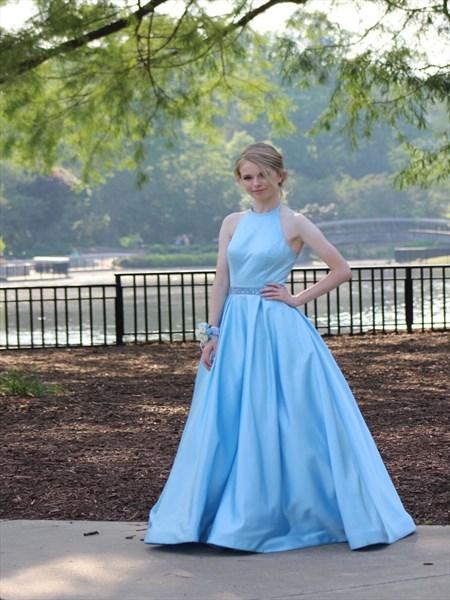 Light Blue Halter Beaded Waist Ball Gown Satin Plus Size Prom Dress