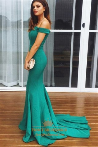 Off The Shoulder Cap Sleeve Floor Length Prom Dress With Train