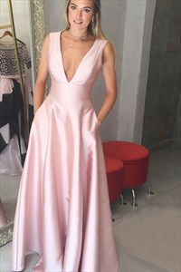 Simple Pink A Line Sleeveless Deep V Neck Floor Length Prom Dress