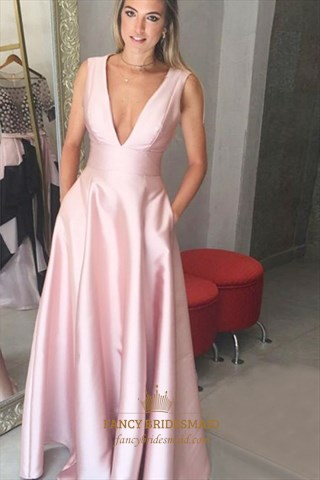 Simple Pink A Line Sleeveless Deep V Neck Floor Length Prom Dress