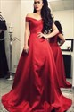 A Line Off The Shoulder Red Satin Long Prom Dress With Train