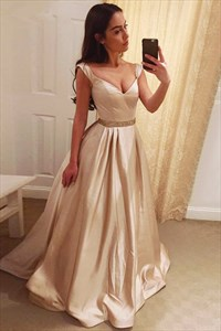 Champagne V Neck Strapless Cap Sleeve Prom Dress With Beaded Waist