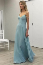 Sweetheart Ruched Backless Chiffon Prom Dress With Beaded Straps