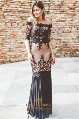 Off The Shoulder Half Sleeve Ruffles Sheath Dress With Lace Appliques