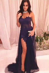 Navy Blue Sweetheart Sleeveless Sheath Lace Dress With Tulle Skirt