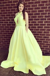 Yellow Halter Neck Keyhole Backless Satin Ball Gown Prom Dress