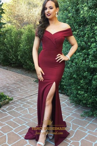 Off The Shoulde Cap Sleeve Ruched Mermaid Prom Dress With Split Front