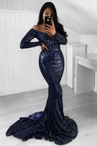 Deep V Long Sleeves Floor Length Sequin Mermaid Prom Dresses