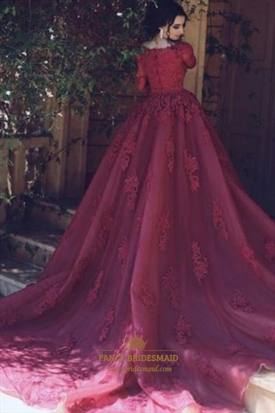 Bateau Half Sleeve Lace Appliques Ball Gown Prom Dresses With Train
