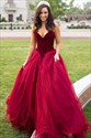 Elegant Burgundy Sweetheart Ball Gown Prom Dress With Pleating