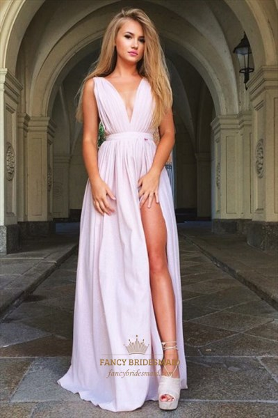 Deep V Neck A Line Split Front Prom Dress With Ruched Bodice