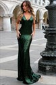 Spaghetti Strap Backless Floor Length Mermaid Sequin Prom Dress