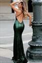 Spaghetti Strap Backless Floor Length Mermaid Sequin Prom Dress