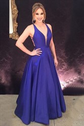 Royal Blue Deep V Neck Sleeveless Open Back Satin Prom Dress