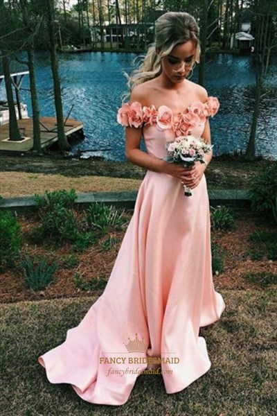 Pink Off The Shoulder A Line Sleeveless Prom Dress With Flowers