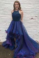 Halter High Low Beading Ruffles Glitter Tulle Prom Dress With Train