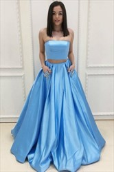 Light Blue Strapless Rhinestones Two Piece Prom Dress With Pockets