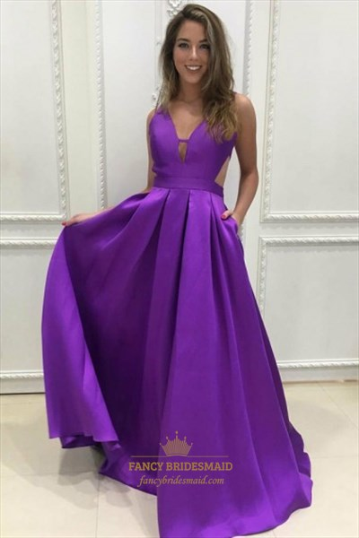 V Neck Keyhole Sleeveless Ruched Waist Prom Dress With Cutout Sides