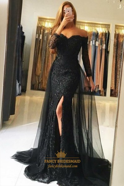 Off The Shoulder Long Sleeve Slits Lace Prom Dress With Tulle Skirt