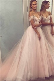 Pale Pink Off The Shoulder Cap Sleeve Crystal Ruched Tulle Prom Dress