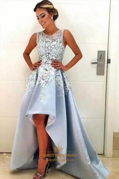 A Line Bateau Sleeveless High Low Prom Dress With Lace Appliques