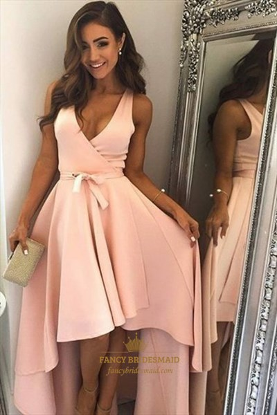 Simple Deep V Neck Sleeveless High Low Satin Prom Dress With Sash