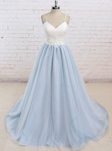 Spaghetti Strap Floor Length Tulle Prom Dress With Lace Applique